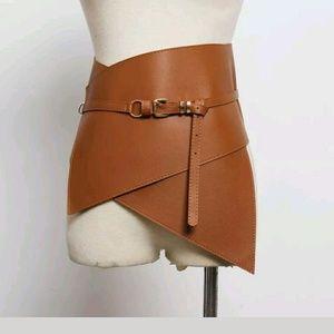 Accessories - Unisex Wide Brown Vegan  Leather Corset Belt